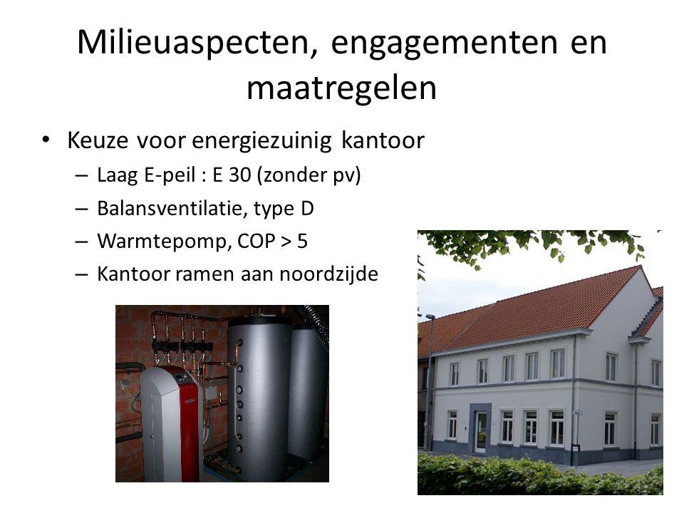 Milieuaspecten, engagementen en maatregelen Keuze voor energiezuinig kantoor – Laag E-peil : E 30 (zonder pv) – Balansventilatie, type D – Warmtepomp, COP > 5 – Kantoor ramen aan noordzijde