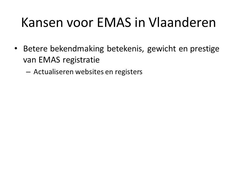 Kansen voor EMAS in Vlaanderen Betere bekendmaking betekenis, gewicht en prestige van EMAS registratie – Actualiseren websites en registers