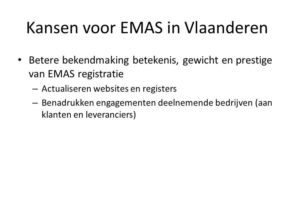 Kansen voor EMAS in Vlaanderen Betere bekendmaking betekenis, gewicht en prestige van EMAS registratie – Actualiseren websites en registers – Benadrukken engagementen deelnemende bedrijven (aan klanten en leveranciers)
