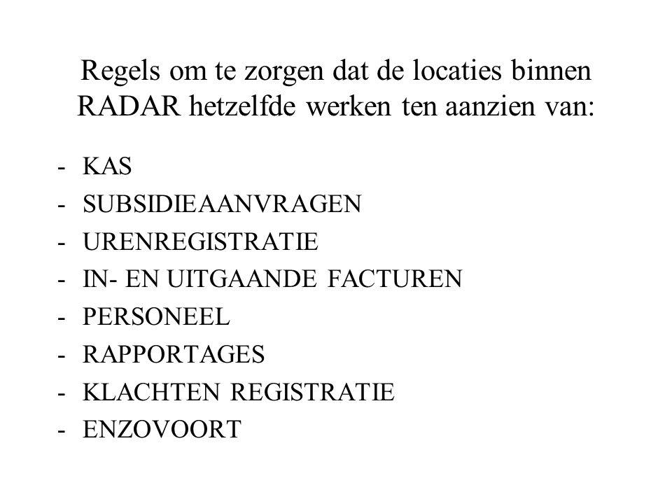 Stichting RADAR Organisatiestructuur Centraal stafbureau -Kostenplaatsen - Projecten Rotterdam-Rijnmond - Kostenplaatsen - Projecten Zuid-Holland-Zuid -Kostenplaatsen - Projecten Midden- en West- Brabant -Kostenplaatsen - Projecten Stichting RADAR
