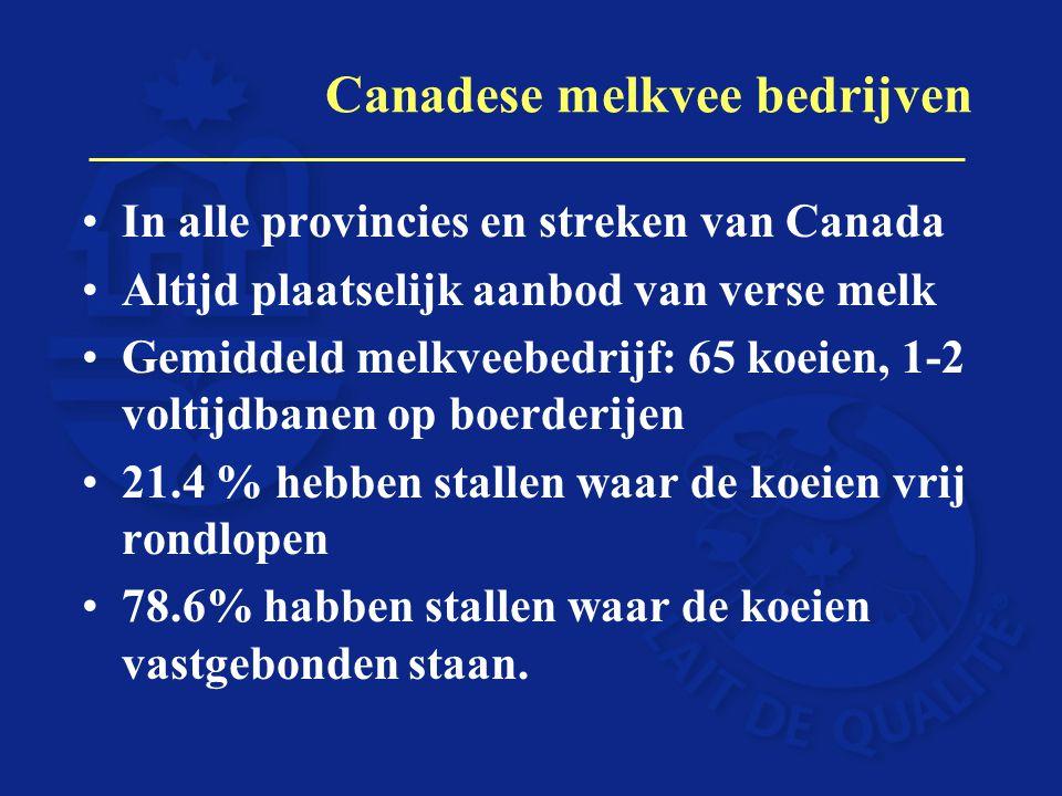 Canadese melkvee bedrijven In alle provincies en streken van Canada Altijd plaatselijk aanbod van verse melk Gemiddeld melkveebedrijf: 65 koeien, 1-2