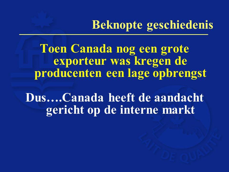 Toen Canada nog een grote exporteur was kregen de producenten een lage opbrengst Dus….Canada heeft de aandacht gericht op de interne markt Beknopte ge