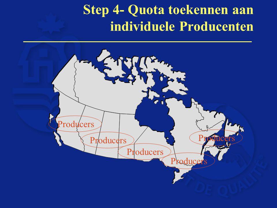 Step 4- Quota toekennen aan individuele Producenten Producers