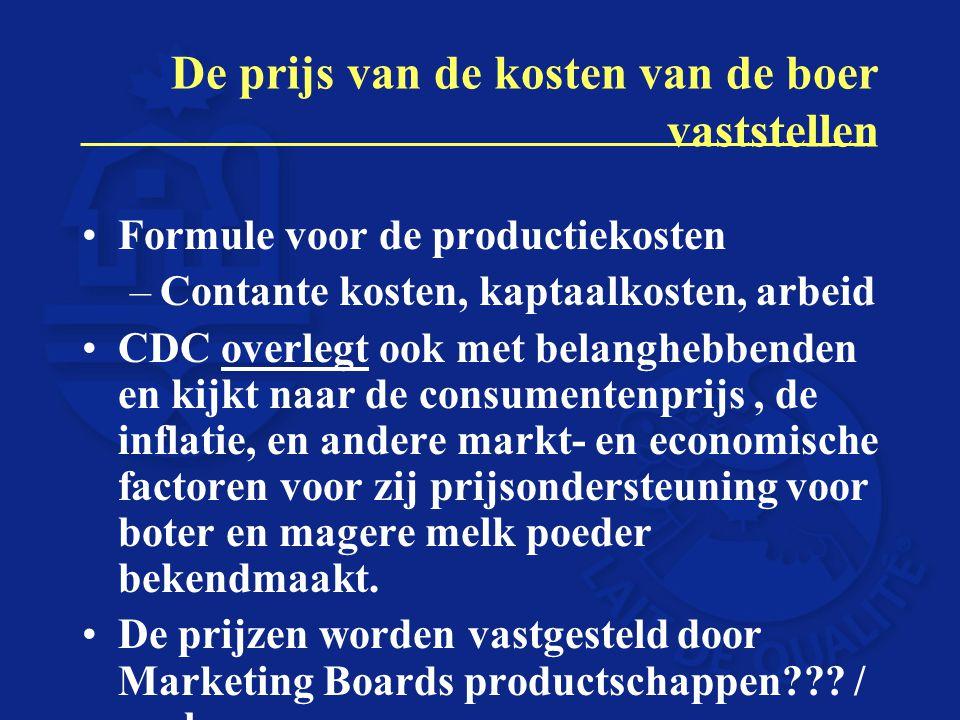 De prijs van de kosten van de boer vaststellen Formule voor de productiekosten –Contante kosten, kaptaalkosten, arbeid CDC overlegt ook met belanghebb