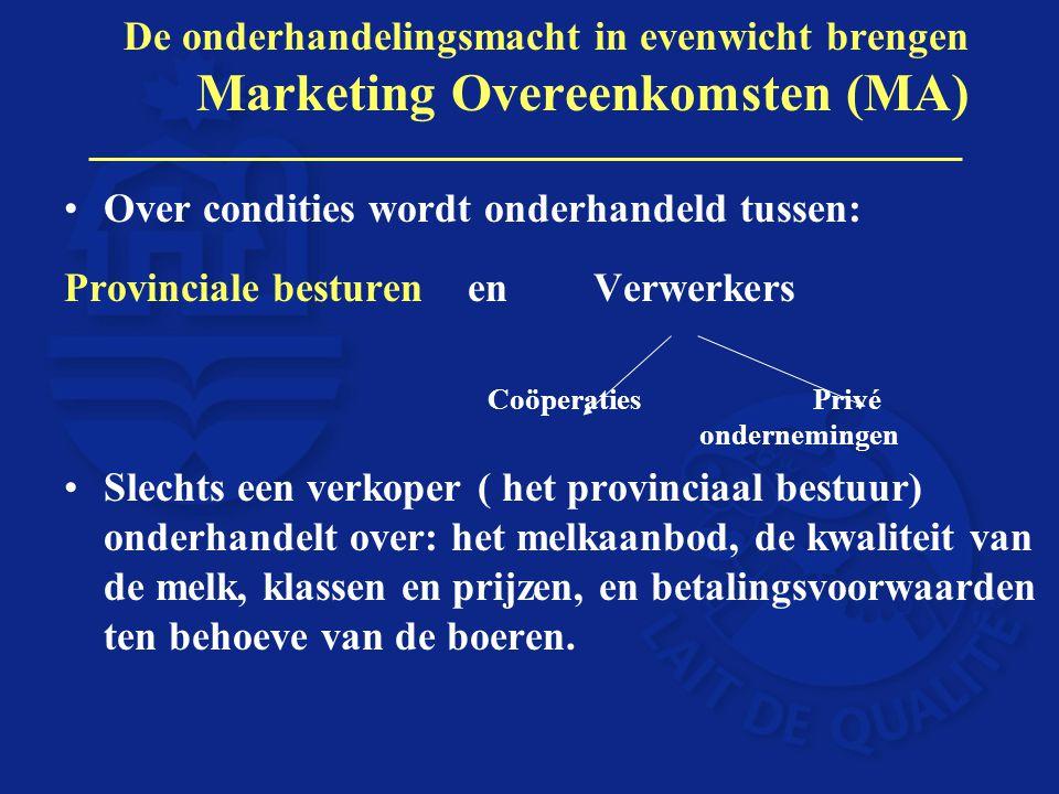 De onderhandelingsmacht in evenwicht brengen Marketing Overeenkomsten (MA) Over condities wordt onderhandeld tussen: Provinciale besturen en Verwerker