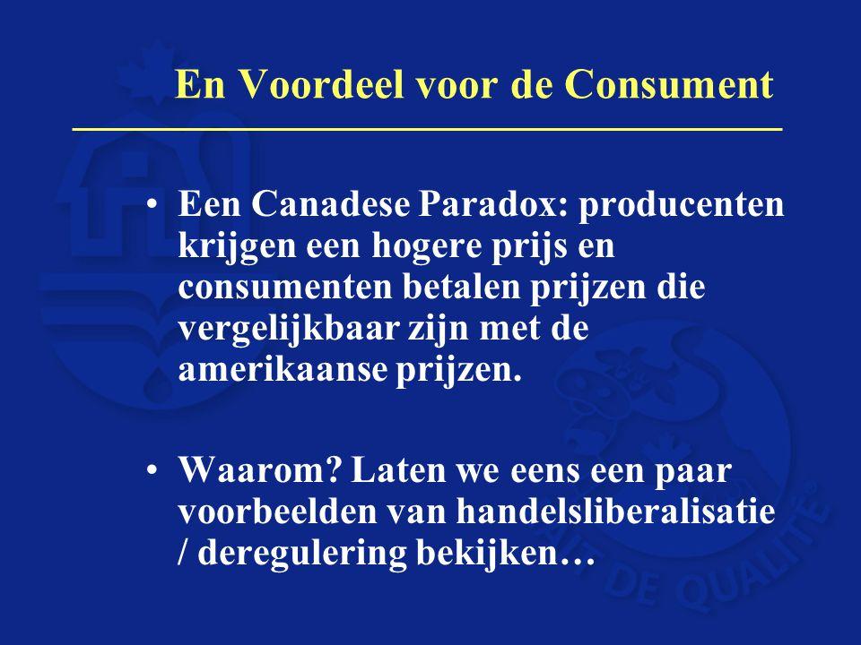 En Voordeel voor de Consument Een Canadese Paradox: producenten krijgen een hogere prijs en consumenten betalen prijzen die vergelijkbaar zijn met de