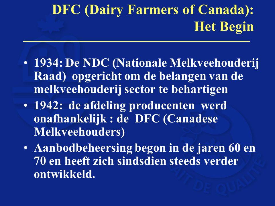 DFC (Dairy Farmers of Canada): Het Begin 1934: De NDC (Nationale Melkveehouderij Raad) opgericht om de belangen van de melkveehouderij sector te behar