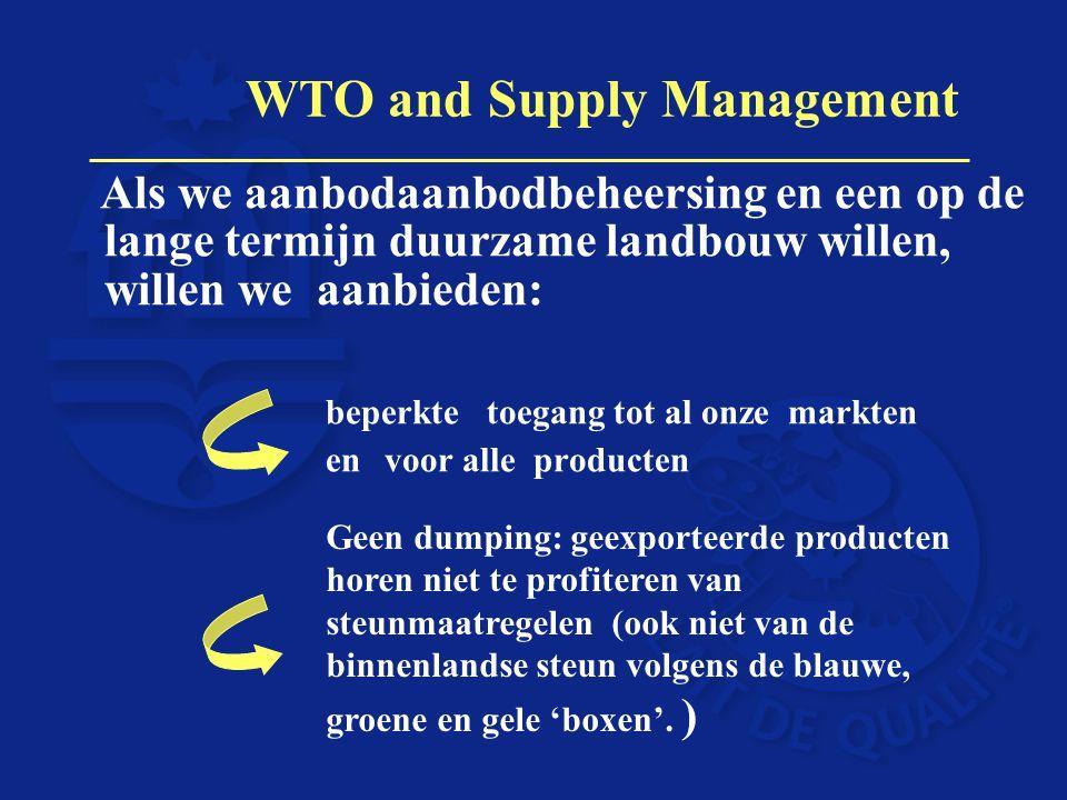 Als we aanbodaanbodbeheersing en een op de lange termijn duurzame landbouw willen, willen we aanbieden: beperkte toegang tot al onze markten envoor al
