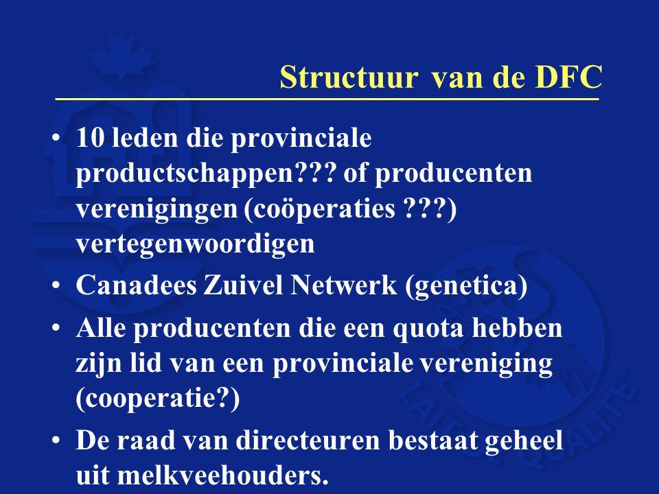 Structuur van de DFC 10 leden die provinciale productschappen??? of producenten verenigingen (coöperaties ???) vertegenwoordigen Canadees Zuivel Netwe