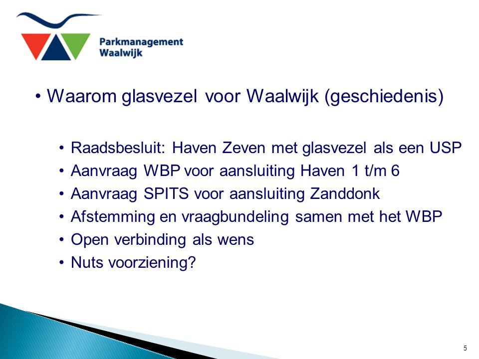 5 Waarom glasvezel voor Waalwijk (geschiedenis) Raadsbesluit: Haven Zeven met glasvezel als een USP Aanvraag WBP voor aansluiting Haven 1 t/m 6 Aanvraag SPITS voor aansluiting Zanddonk Afstemming en vraagbundeling samen met het WBP Open verbinding als wens Nuts voorziening?