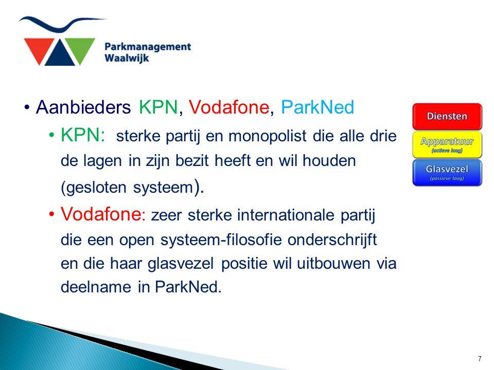 7 Aanbieders KPN, Vodafone, ParkNed KPN: sterke partij en monopolist die alle drie de lagen in zijn bezit heeft en wil houden (gesloten systeem ). Vod