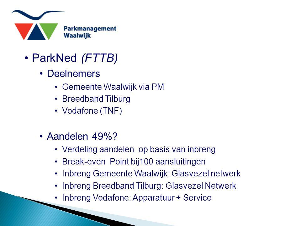 ParkNed (FTTB) Deelnemers Gemeente Waalwijk via PM Breedband Tilburg Vodafone (TNF) Aandelen 49%? Verdeling aandelen op basis van inbreng Break-even P