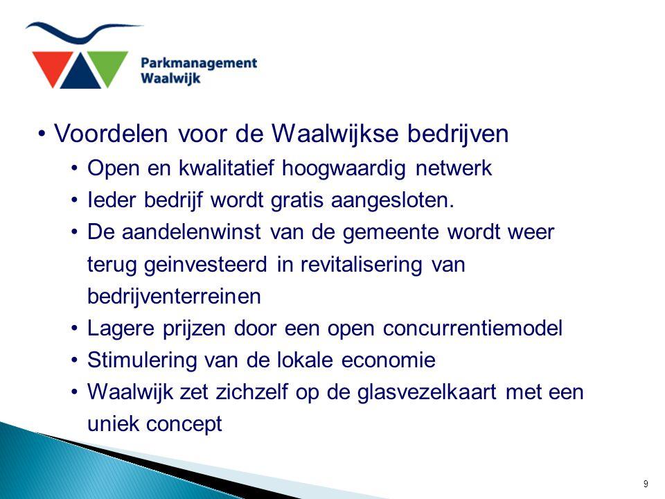 9 Voordelen voor de Waalwijkse bedrijven Open en kwalitatief hoogwaardig netwerk Ieder bedrijf wordt gratis aangesloten. De aandelenwinst van de gemee