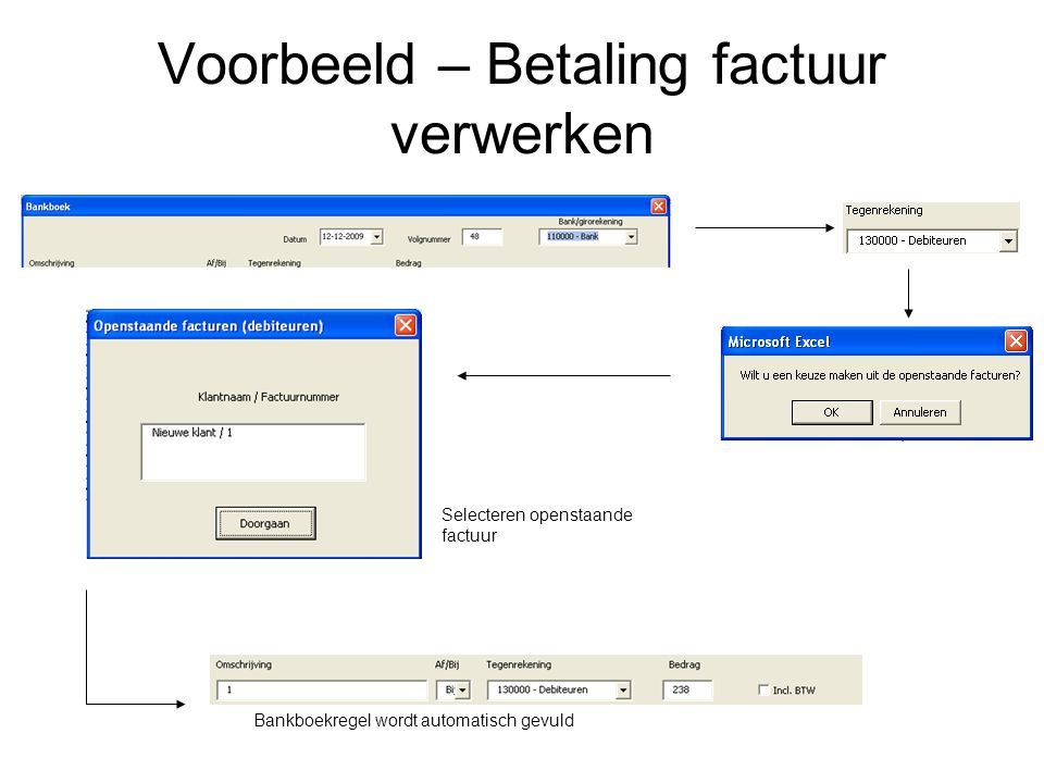 Voorbeeld – Betaling factuur verwerken Selecteren openstaande factuur Bankboekregel wordt automatisch gevuld