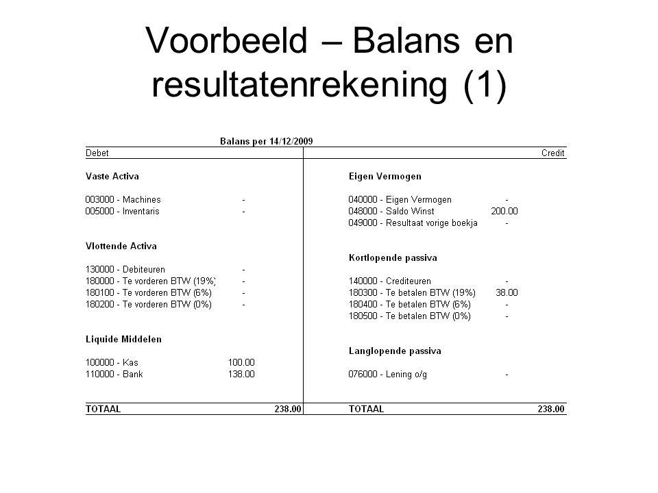 Voorbeeld – Balans en resultatenrekening (1)