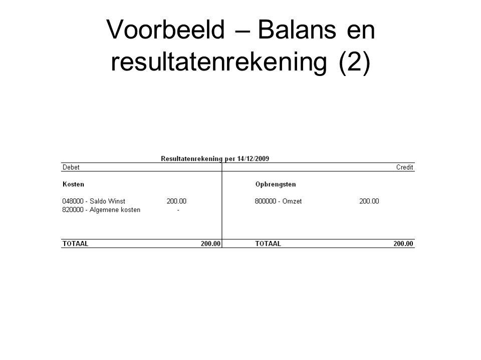 Voorbeeld – Balans en resultatenrekening (2)