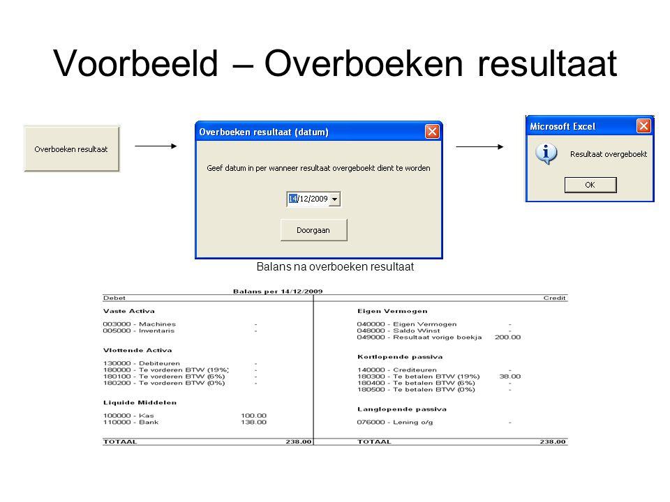 Voorbeeld – Overboeken resultaat Balans na overboeken resultaat
