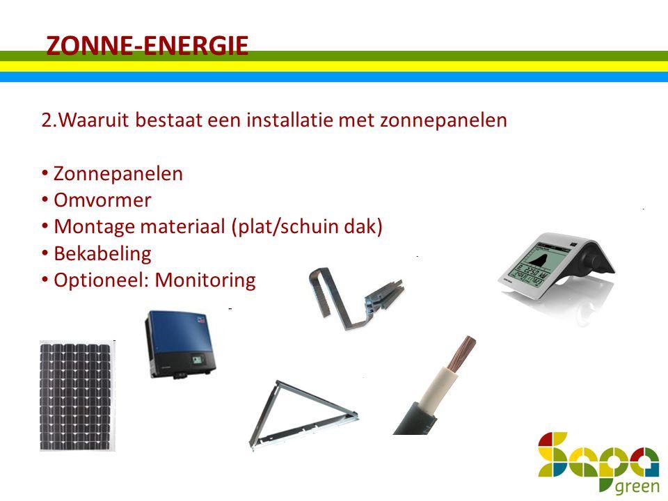 ZONNE-ENERGIE 2.Waaruit bestaat een installatie met zonnepanelen Zonnepanelen Omvormer Montage materiaal (plat/schuin dak) Bekabeling Optioneel: Monit