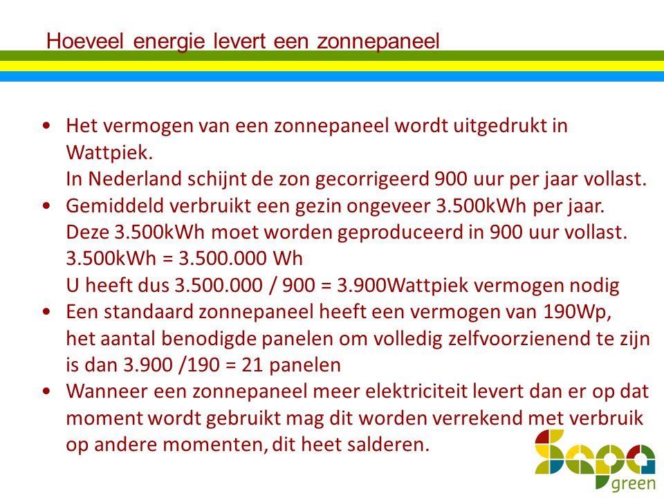Hoeveel energie levert een zonnepaneel Het vermogen van een zonnepaneel wordt uitgedrukt in Wattpiek. In Nederland schijnt de zon gecorrigeerd 900 uur