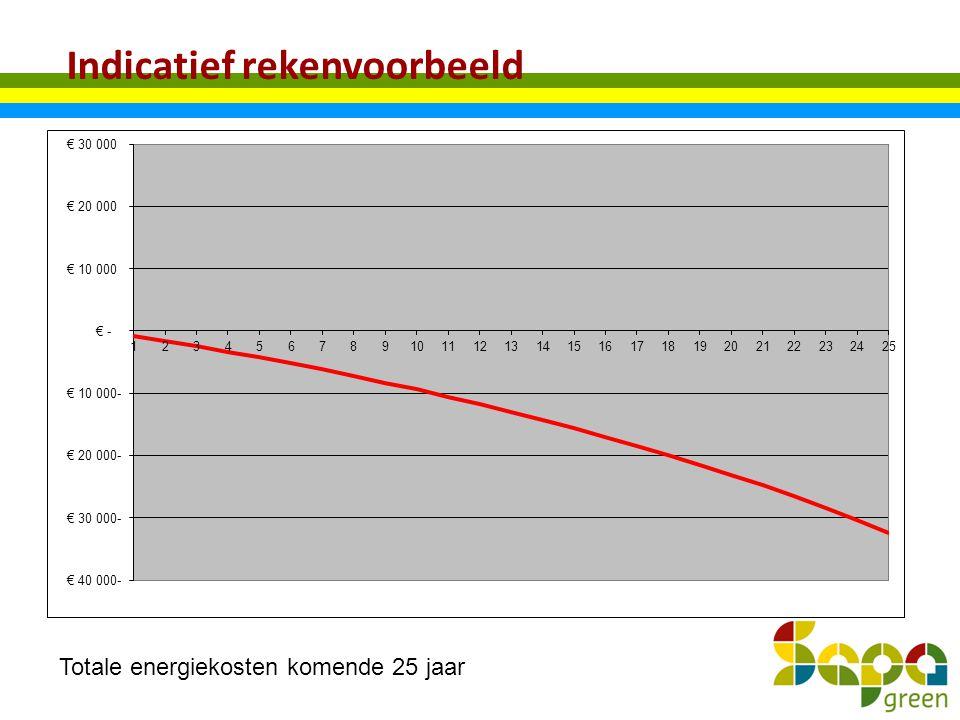 Indicatief rekenvoorbeeld Totale energiekosten komende 25 jaar