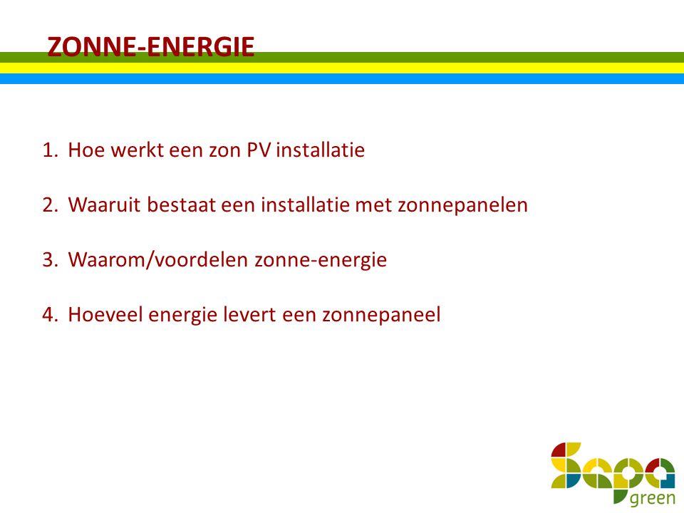 ZONNE-ENERGIE 1.Hoe werkt een zon PV installatie 2.Waaruit bestaat een installatie met zonnepanelen 3.Waarom/voordelen zonne-energie 4.Hoeveel energie