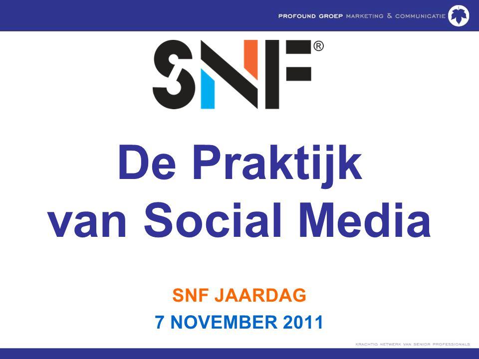 7 november 2011SNF JAARDAG 201132 1.10.000.000 2.150.000 NL 3.Locatiemarketing 4.Checkins, Mayor, Badges 5.Acties, aanbiedingen, events 6.Links naar Website en social media