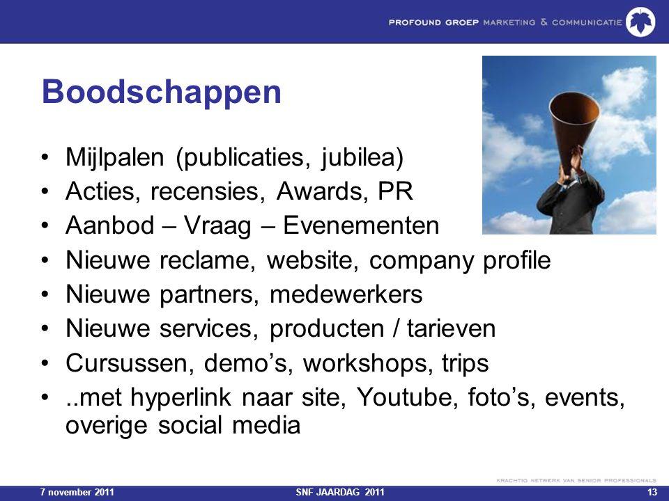 7 november 2011SNF JAARDAG 201113 Boodschappen Mijlpalen (publicaties, jubilea) Acties, recensies, Awards, PR Aanbod – Vraag – Evenementen Nieuwe recl