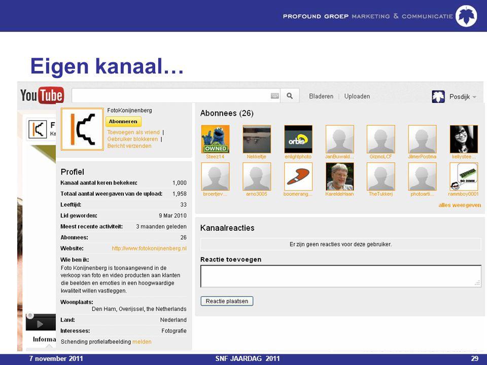 7 november 2011SNF JAARDAG 201129 Eigen kanaal…
