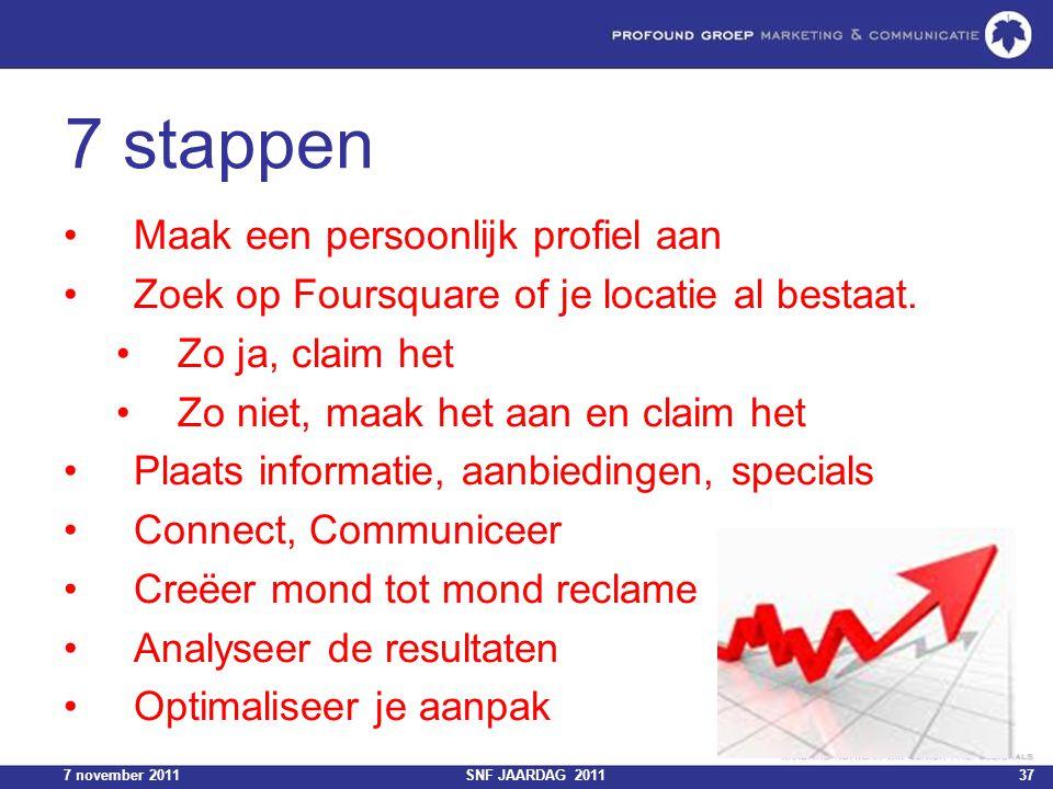 7 november 2011SNF JAARDAG 201137 7 stappen Maak een persoonlijk profiel aan Zoek op Foursquare of je locatie al bestaat. Zo ja, claim het Zo niet, ma