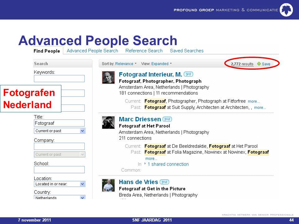 7 november 2011SNF JAARDAG 201144 Advanced People Search Fotografen Nederland