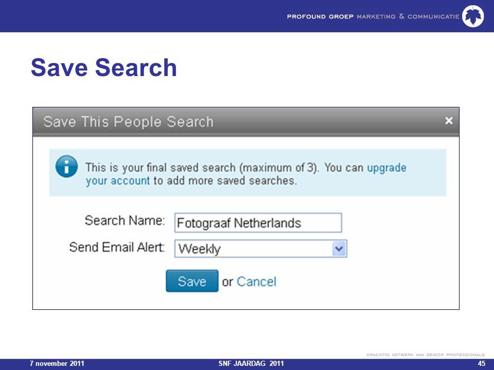 7 november 2011SNF JAARDAG 201145 Save Search