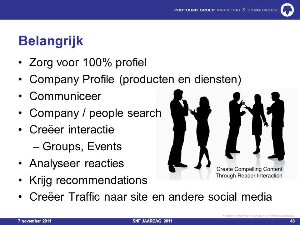 7 november 2011SNF JAARDAG 201148 Belangrijk Zorg voor 100% profiel Company Profile (producten en diensten) Communiceer Company / people search Creëer
