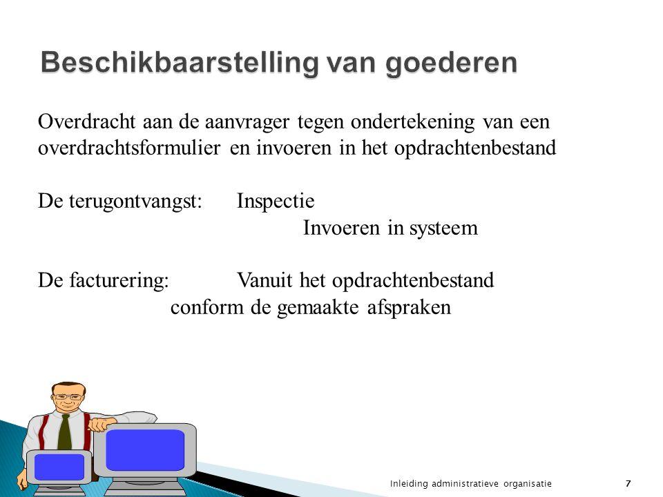 Inleiding administratieve organisatie7 Beschikbaarstelling van goederen Overdracht aan de aanvrager tegen ondertekening van een overdrachtsformulier e