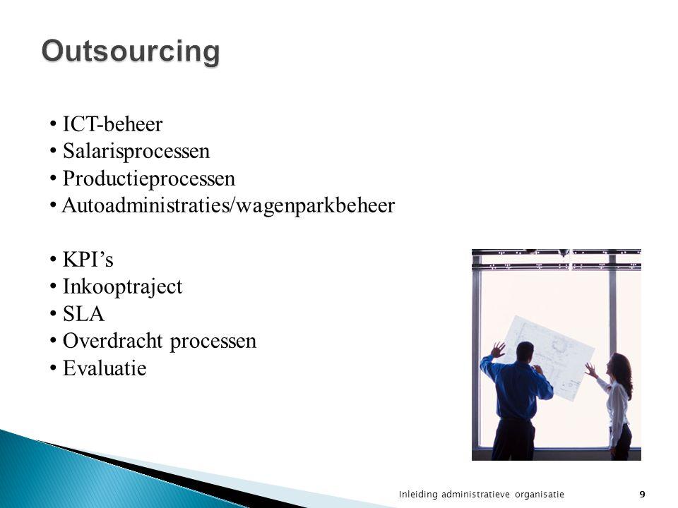 Inleiding administratieve organisatie9 Outsourcing ICT-beheer Salarisprocessen Productieprocessen Autoadministraties/wagenparkbeheer KPI's Inkooptraje