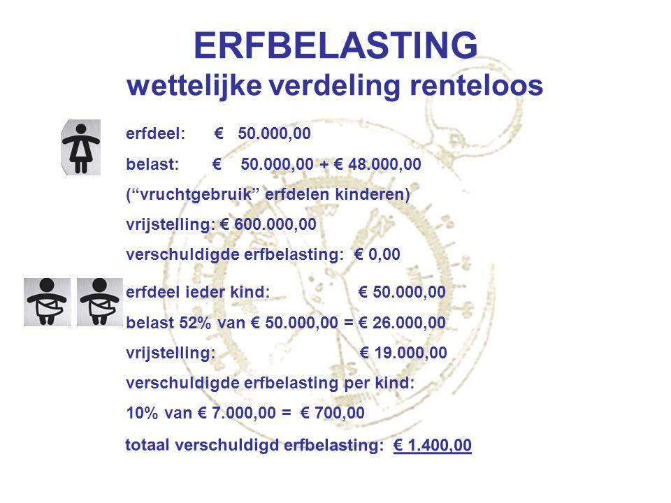 """ERFBELASTING wettelijke verdeling renteloos erfdeel: € 50.000,00 belast: € 50.000,00 + € 48.000,00 (""""vruchtgebruik"""" erfdelen kinderen) vrijstelling: €"""