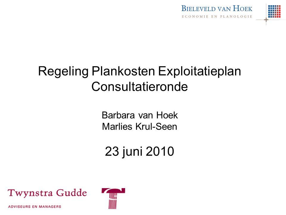 Regeling Plankosten Exploitatieplan Consultatieronde Barbara van Hoek Marlies Krul-Seen 23 juni 2010