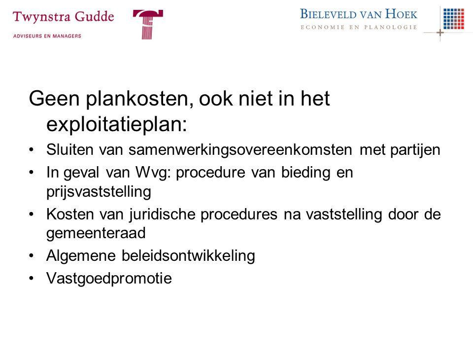 Geen plankosten, ook niet in het exploitatieplan: Sluiten van samenwerkingsovereenkomsten met partijen In geval van Wvg: procedure van bieding en prij