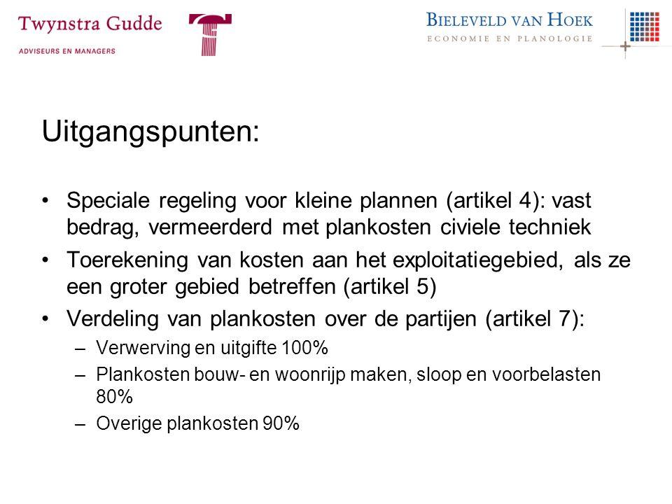 Uitgangspunten: Speciale regeling voor kleine plannen (artikel 4): vast bedrag, vermeerderd met plankosten civiele techniek Toerekening van kosten aan
