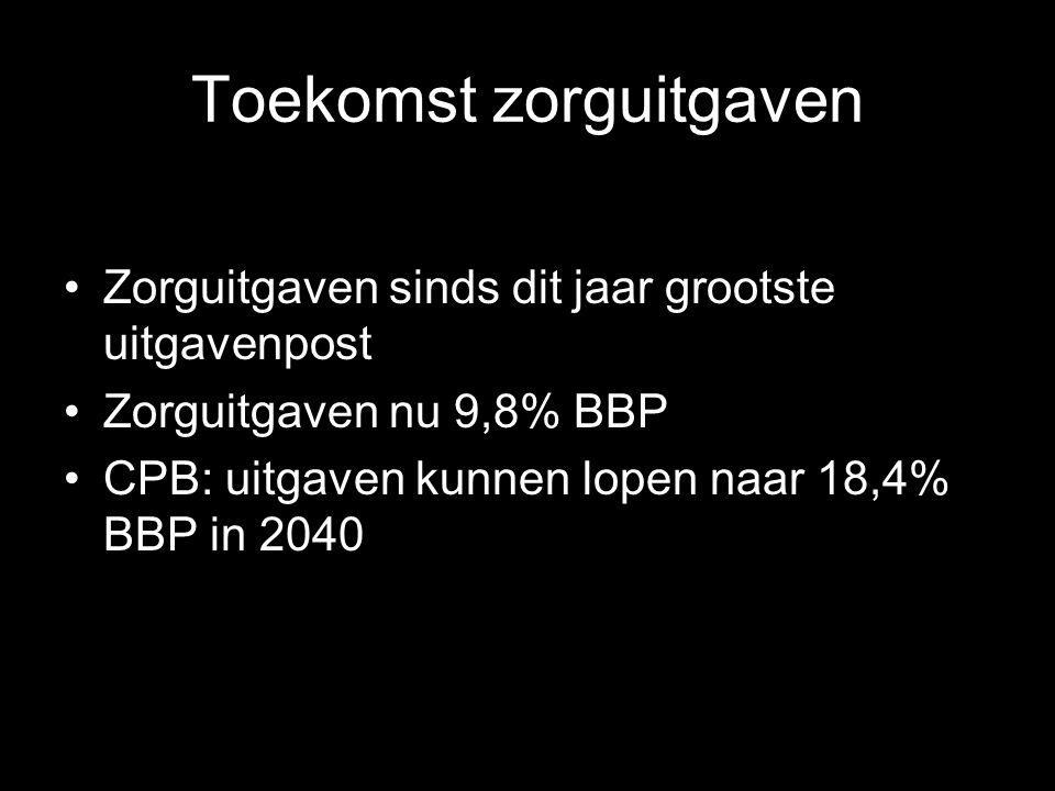 Eigen bijdragen als aandeel in de zorgkosten in NL laag