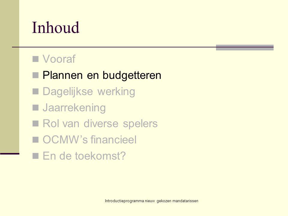 Introductieprogramma nieuw gekozen mandatarissen Inhoud Vooraf Plannen en budgetteren Dagelijkse werking Jaarrekening Rol van diverse spelers OCMW's financieel En de toekomst?