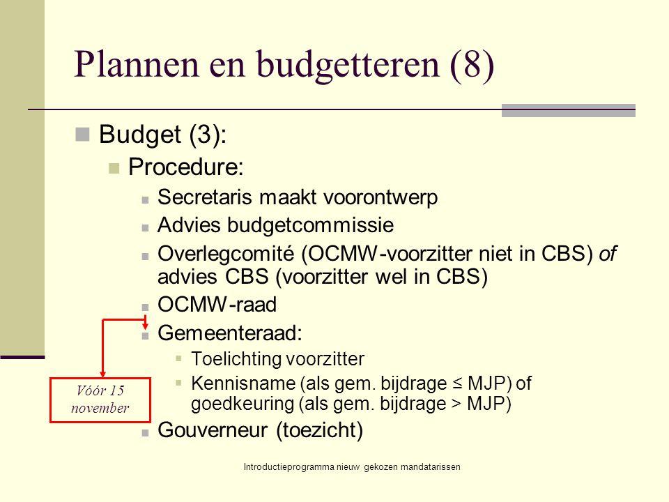 Introductieprogramma nieuw gekozen mandatarissen Plannen en budgetteren (8) Budget (3): Procedure: Secretaris maakt voorontwerp Advies budgetcommissie