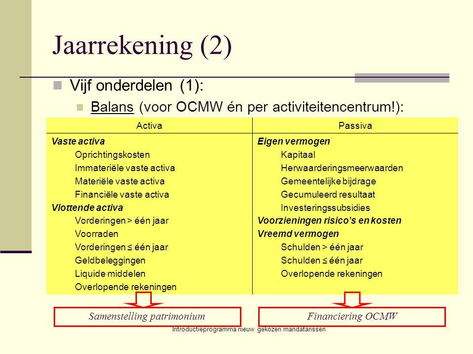 Introductieprogramma nieuw gekozen mandatarissen Jaarrekening (2) Vijf onderdelen (1): Balans (voor OCMW én per activiteitencentrum!): ActivaPassiva V