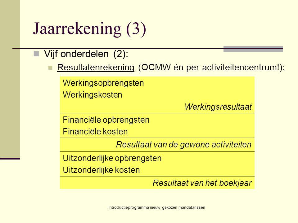 Introductieprogramma nieuw gekozen mandatarissen Jaarrekening (3) Vijf onderdelen (2): Resultatenrekening (OCMW én per activiteitencentrum!): Werkings