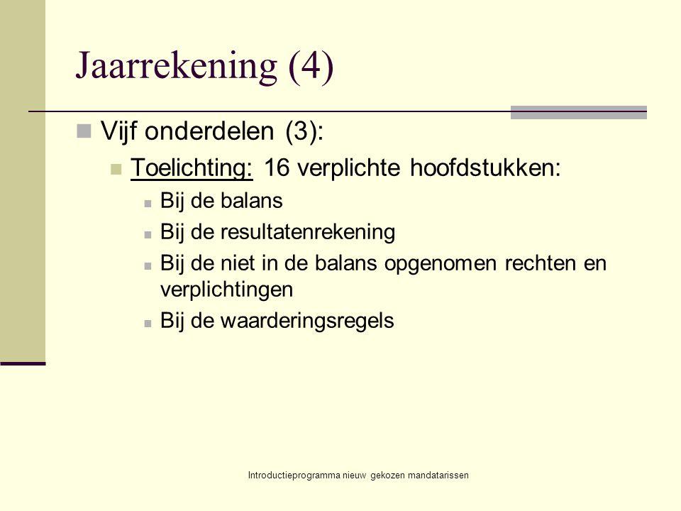 Introductieprogramma nieuw gekozen mandatarissen Jaarrekening (4) Vijf onderdelen (3): Toelichting: 16 verplichte hoofdstukken: Bij de balans Bij de r