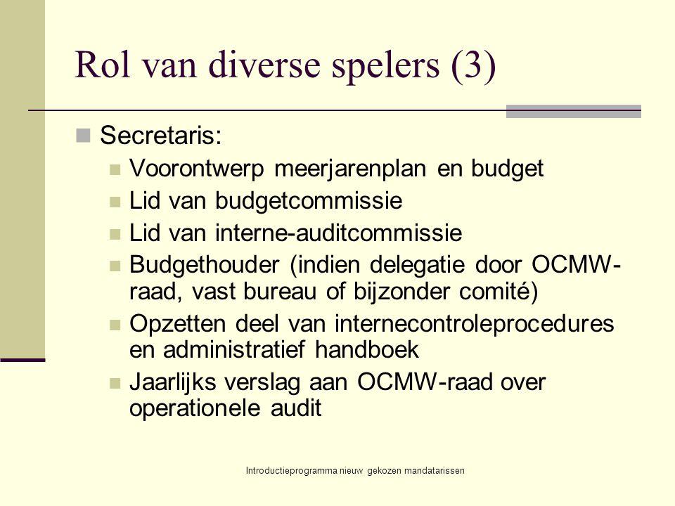 Introductieprogramma nieuw gekozen mandatarissen Rol van diverse spelers (3) Secretaris: Voorontwerp meerjarenplan en budget Lid van budgetcommissie L