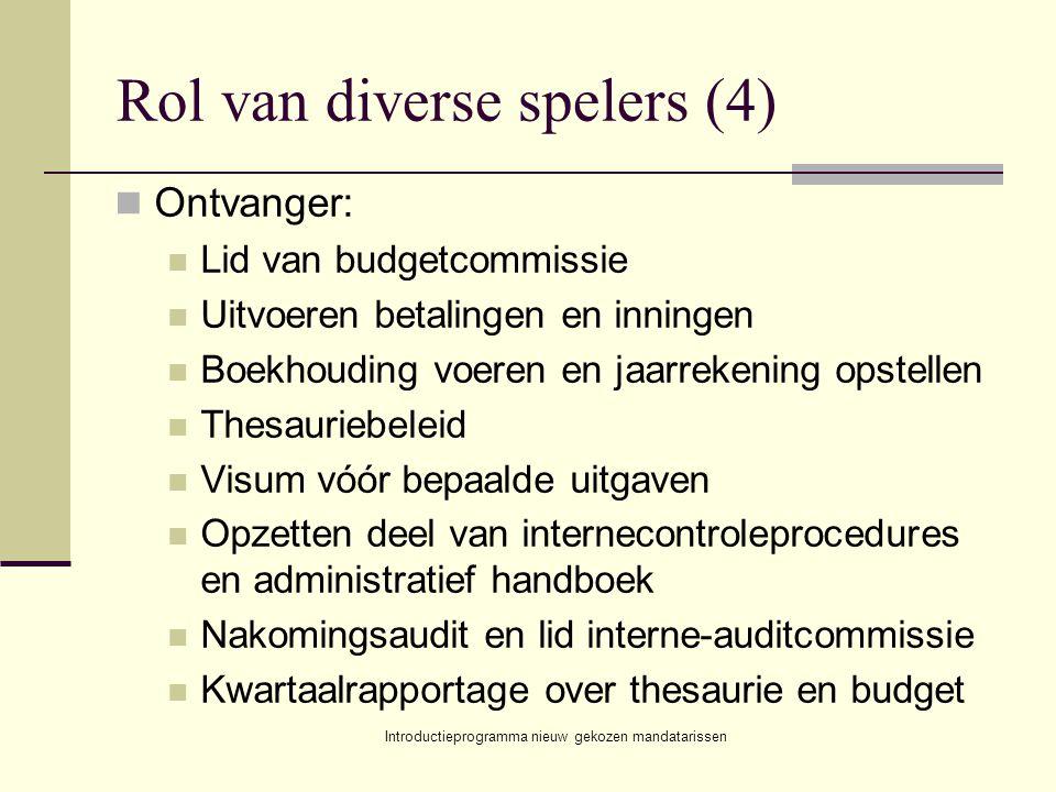 Introductieprogramma nieuw gekozen mandatarissen Rol van diverse spelers (4) Ontvanger: Lid van budgetcommissie Uitvoeren betalingen en inningen Boekh