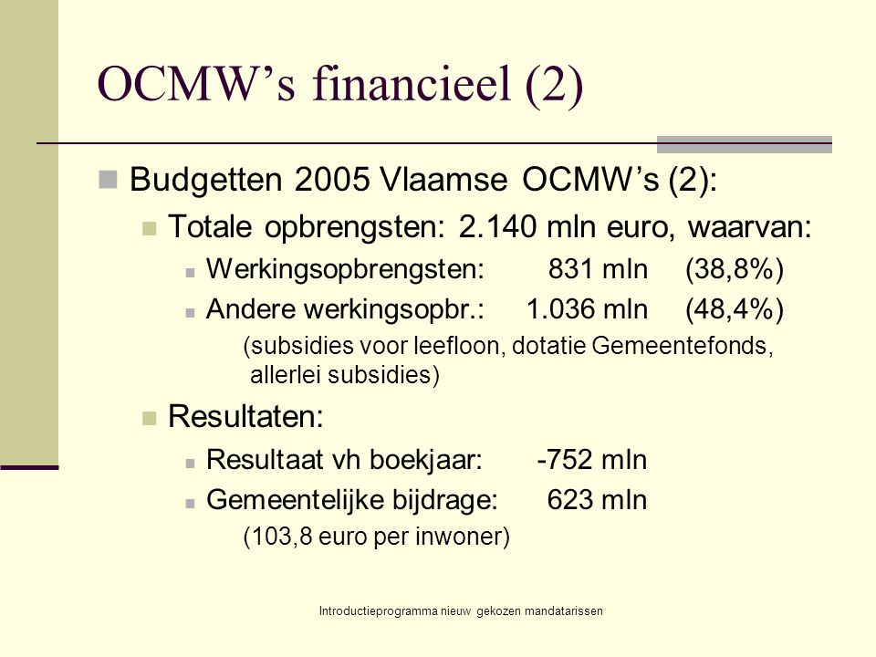 Introductieprogramma nieuw gekozen mandatarissen OCMW's financieel (2) Budgetten 2005 Vlaamse OCMW's (2): Totale opbrengsten: 2.140 mln euro, waarvan: Werkingsopbrengsten:831 mln(38,8%) Andere werkingsopbr.:1.036 mln(48,4%) (subsidies voor leefloon, dotatie Gemeentefonds, allerlei subsidies) Resultaten: Resultaat vh boekjaar:-752 mln Gemeentelijke bijdrage:623 mln (103,8 euro per inwoner)