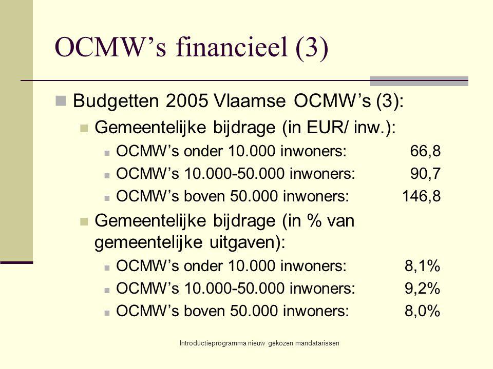 Introductieprogramma nieuw gekozen mandatarissen OCMW's financieel (3) Budgetten 2005 Vlaamse OCMW's (3): Gemeentelijke bijdrage (in EUR/ inw.): OCMW's onder 10.000 inwoners:66,8 OCMW's 10.000-50.000 inwoners:90,7 OCMW's boven 50.000 inwoners:146,8 Gemeentelijke bijdrage (in % van gemeentelijke uitgaven): OCMW's onder 10.000 inwoners:8,1% OCMW's 10.000-50.000 inwoners:9,2% OCMW's boven 50.000 inwoners:8,0%