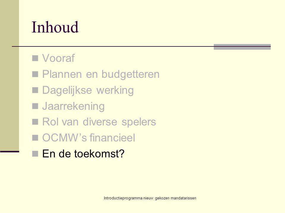 Introductieprogramma nieuw gekozen mandatarissen Inhoud Vooraf Plannen en budgetteren Dagelijkse werking Jaarrekening Rol van diverse spelers OCMW's f