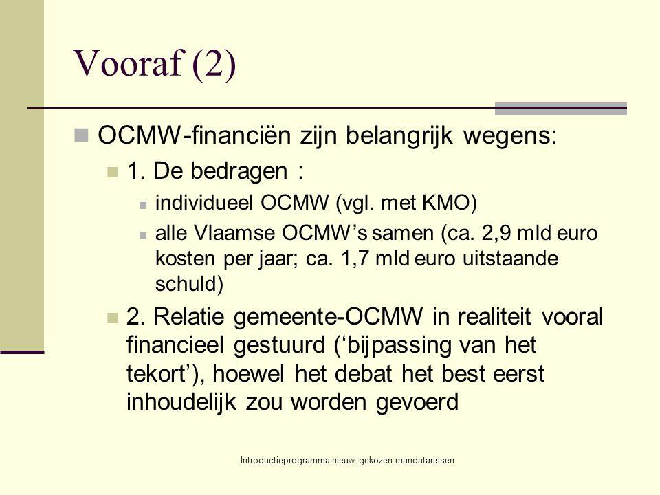 Introductieprogramma nieuw gekozen mandatarissen Vooraf (2) OCMW-financiën zijn belangrijk wegens: 1. De bedragen : individueel OCMW (vgl. met KMO) al
